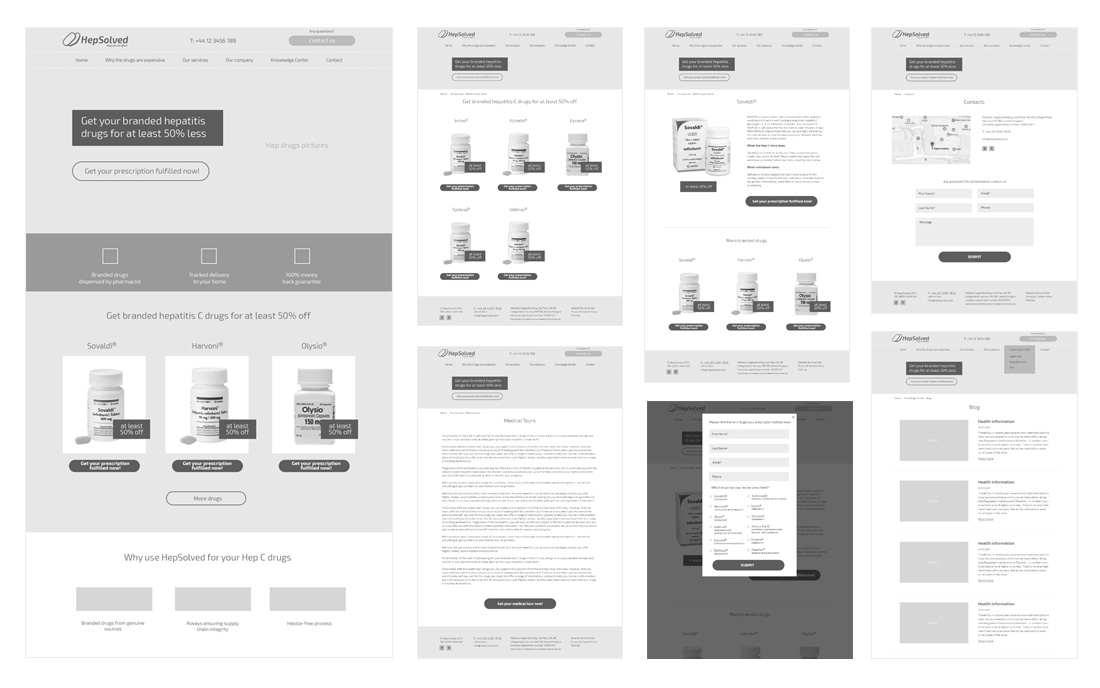 Website pages prototypes