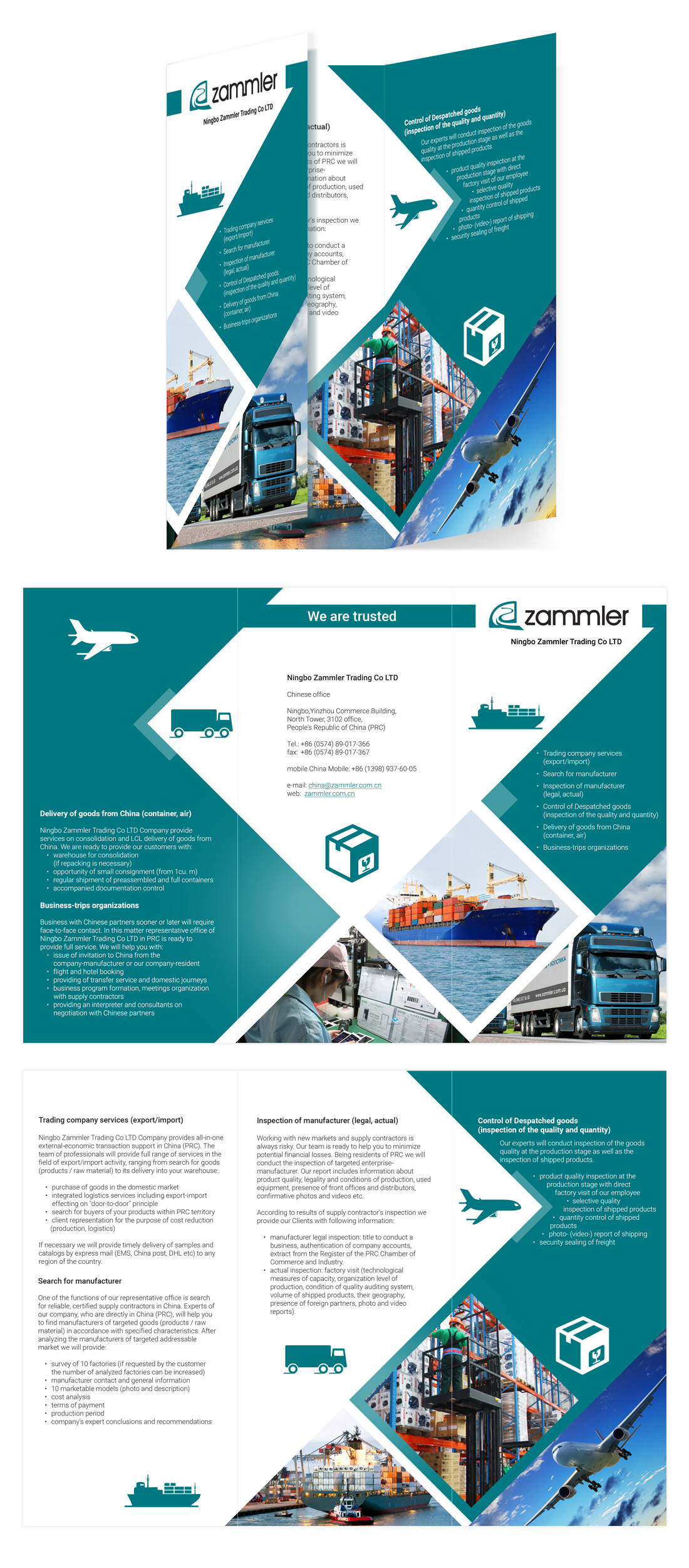 Graphic design of booklet for Zammler company